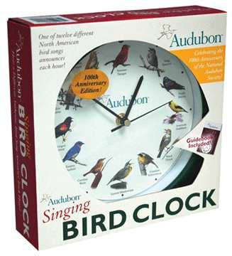 Audubon Singing Bird Wall Clock Green Audubon Singing