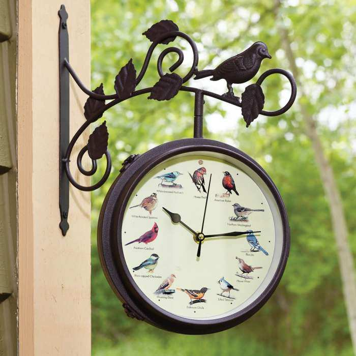 Decorative Outdoor Singing Bird Clock Thermometer