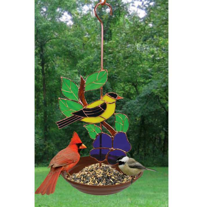 Stained Glass Bird Feeder Goldfinch