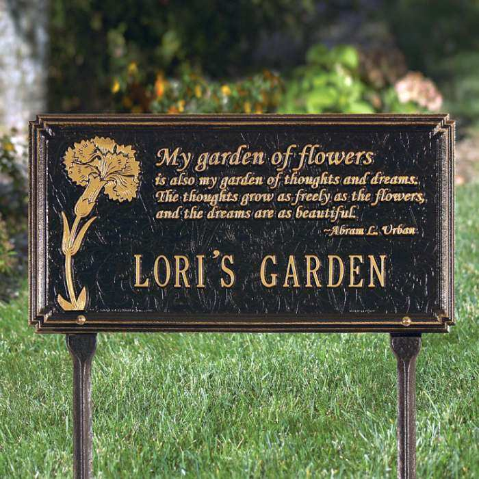 Personalized Garden Plaque Dianthus