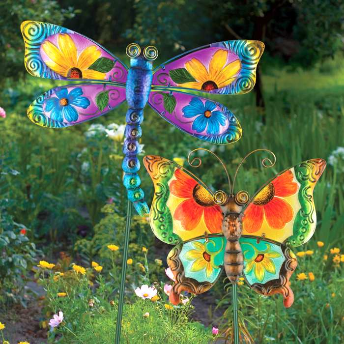 Floral Glass Butterfly & Dragonfly Stake Set of 2