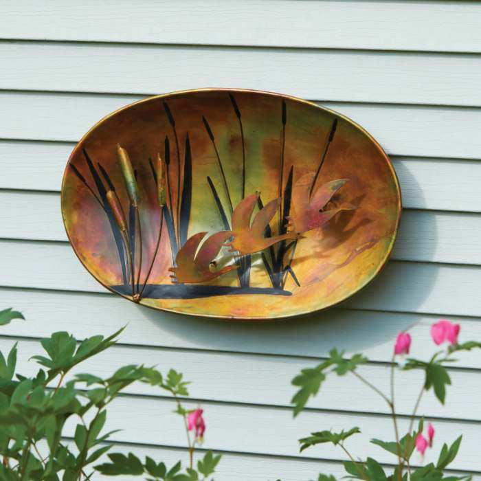 Flamed Copper Geese and Cattails Wall Hanging 19