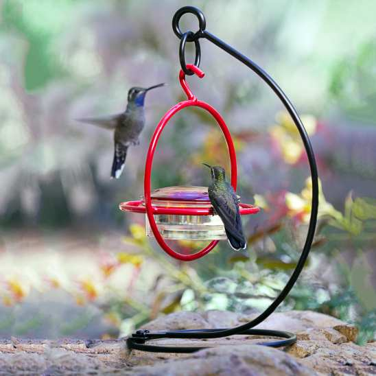 Sphere Hummingbird Feeder Red with Perch & Stand