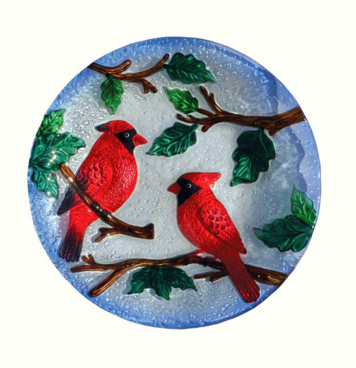 Embossed Perching Cardinals Glass Bird Bath