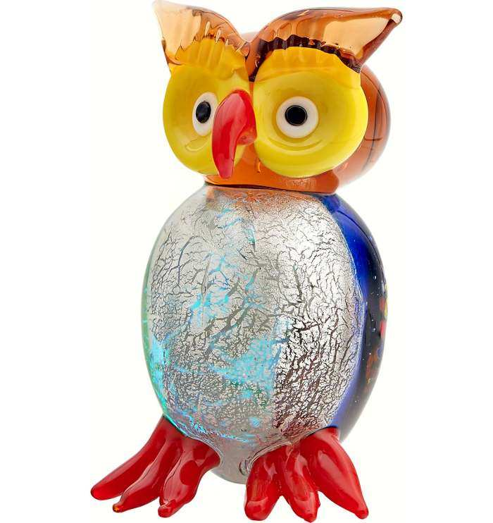 Milano Art Glass Animal Owl Blue White