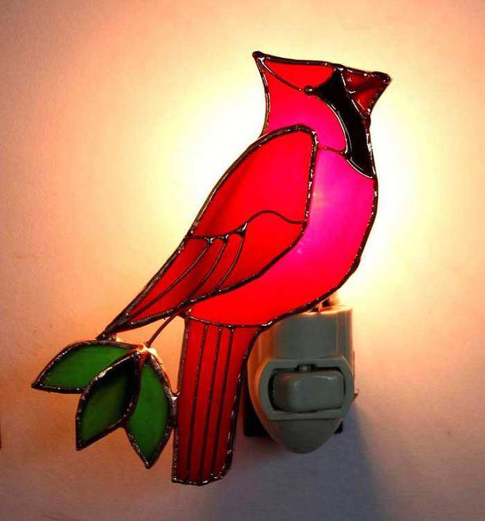 Stained Glass Nightlight Cardinal