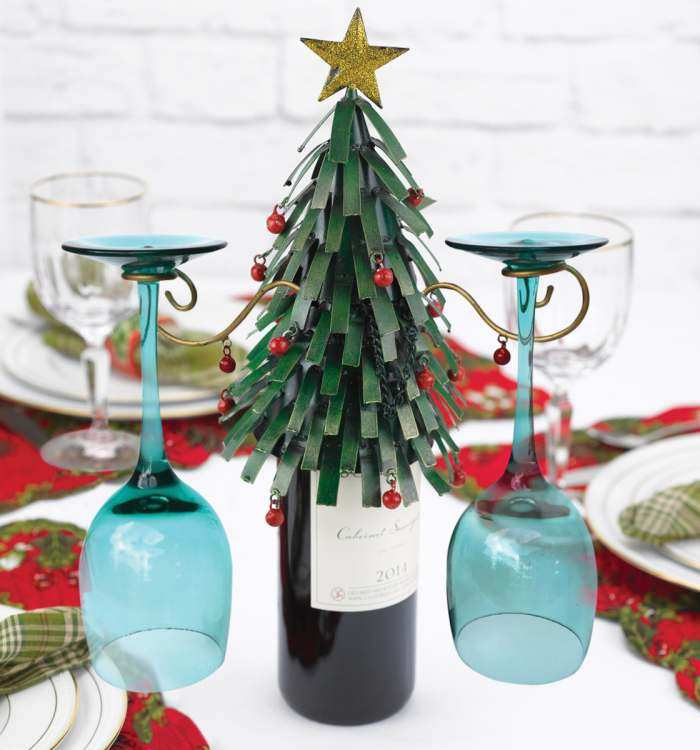 Wine Bottle and Glass Holder Christmas Tree