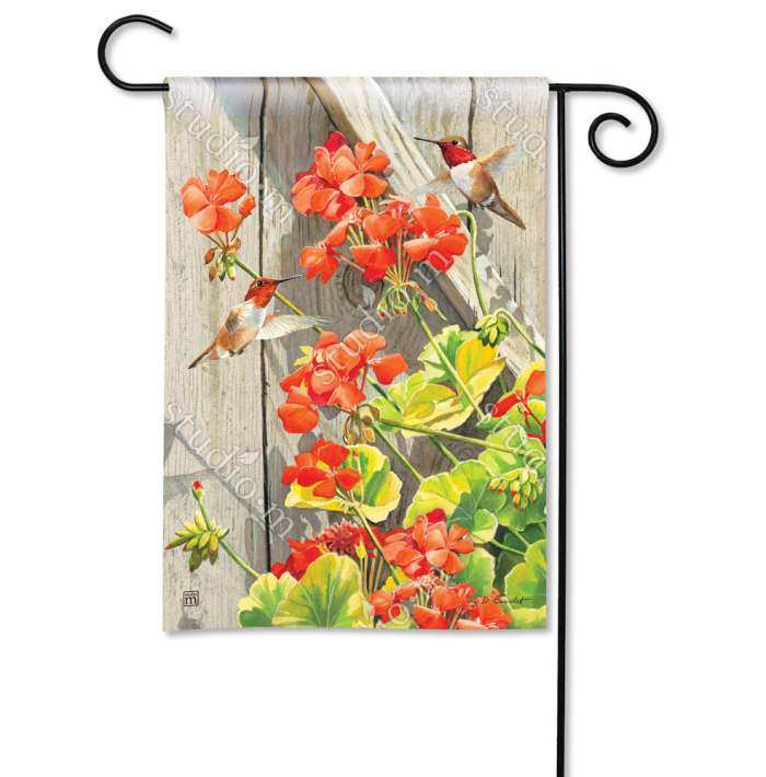 Breeze Art Hummingbirds with Geraniums Garden Flag