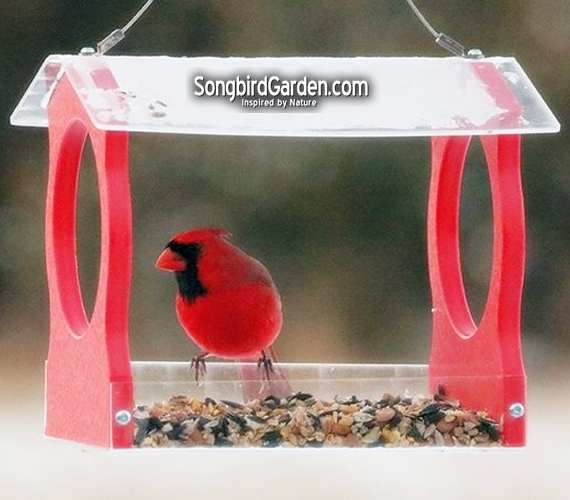 Recycled Poly Small Fly-Thru Hopper Feeder Red