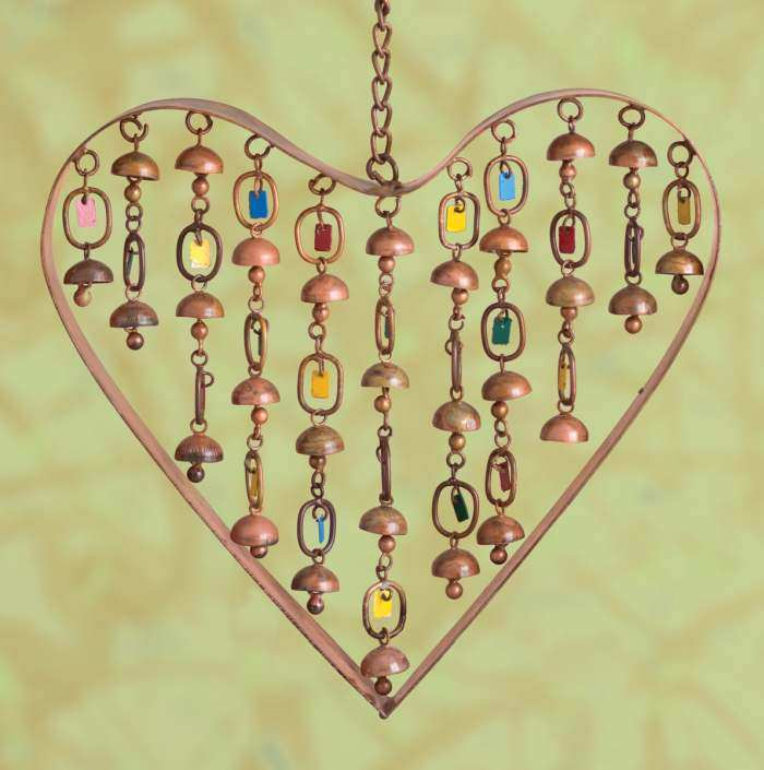 Heart with Dangles Wind Chime
