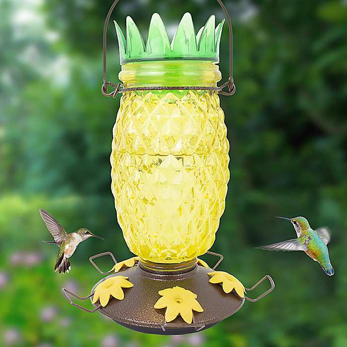 Pineapple Top-Fill Glass Hummingbird Feeder