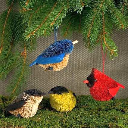 Brushart Bristle Brush Bird Ornament Set of 4