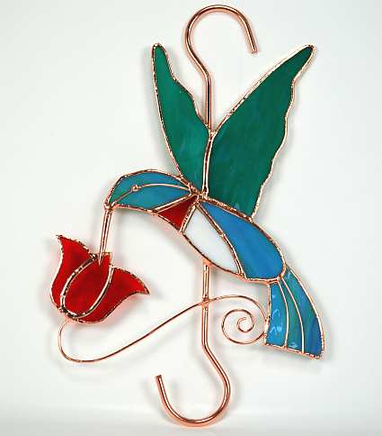 Stained Glass Garden Hook Hummingbird Red Flower