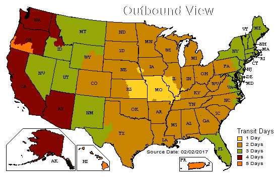 UPS Outbound Map