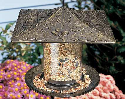 Classic Oakleaf Seed Tube Bird Feeder French Bronze