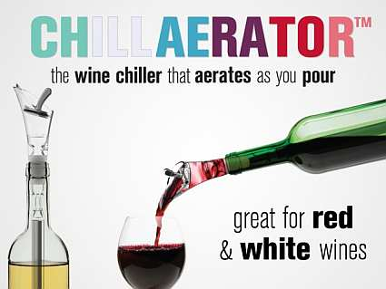 Chillaerator - Freezable wine bottle chiller and aerator rod.